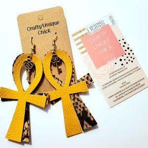 Boho handmade faux leather fashion earrings